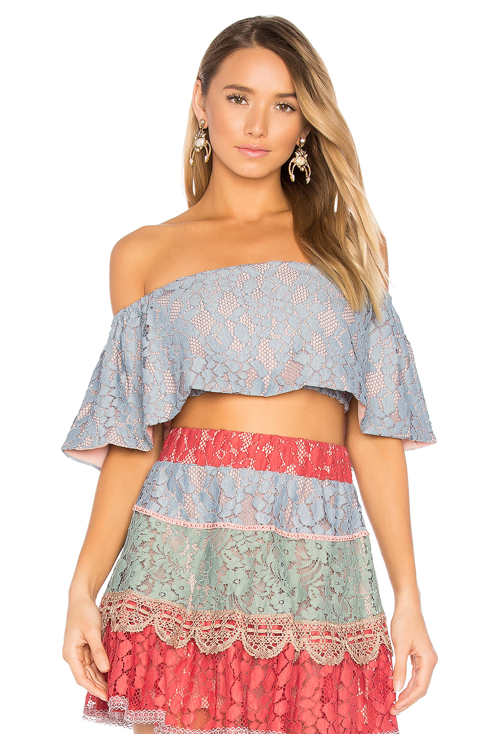 Alexis Taza Off The Shoulder Top In Blue
