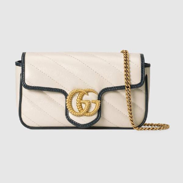 Gucci Mini Gg Marmont Leather Shoulder Bag In White