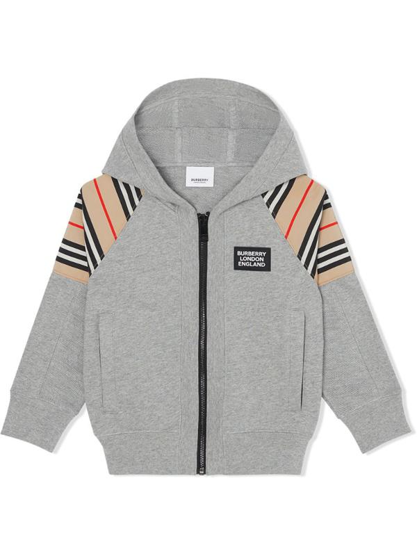 Burberry Kids' Icon Stripe Zip-up Hoodie In Grey