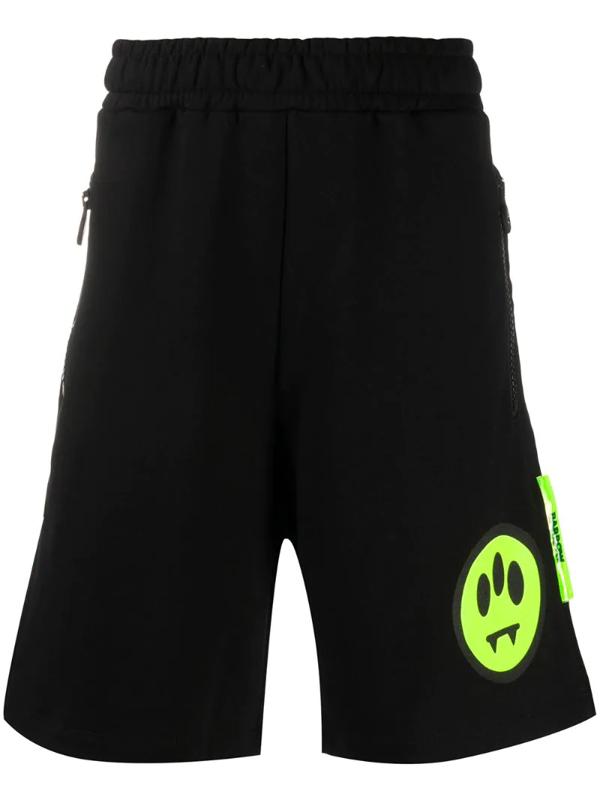 Barrow Black Sweatshirt Shorts With Logo Print