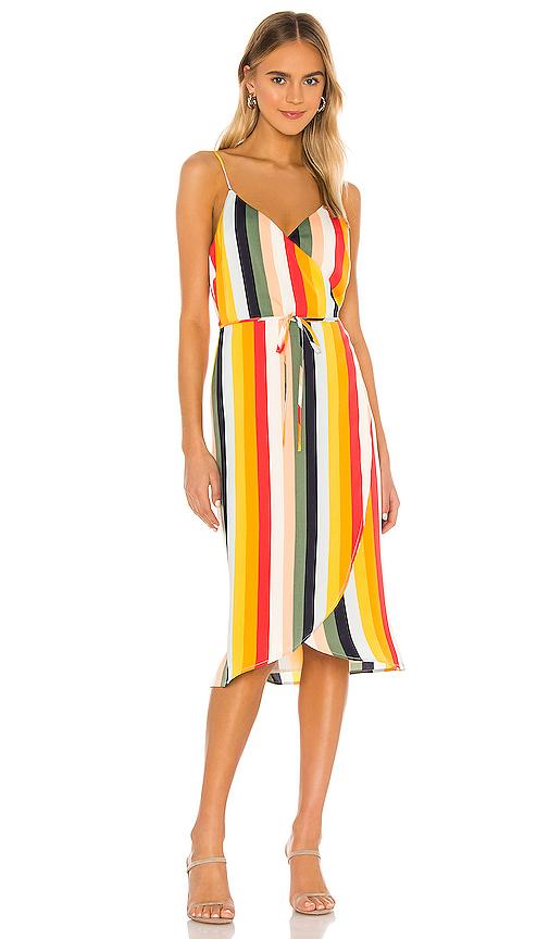 Cupcakes And Cashmere Stella Stripe Wrap Midi Dress In Multi