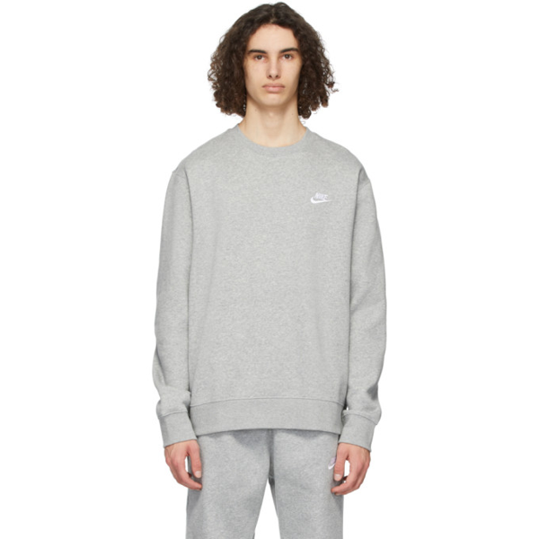 Nike Sportswear Club Fleece Crewneck Sweatshirt In Grey H/wht