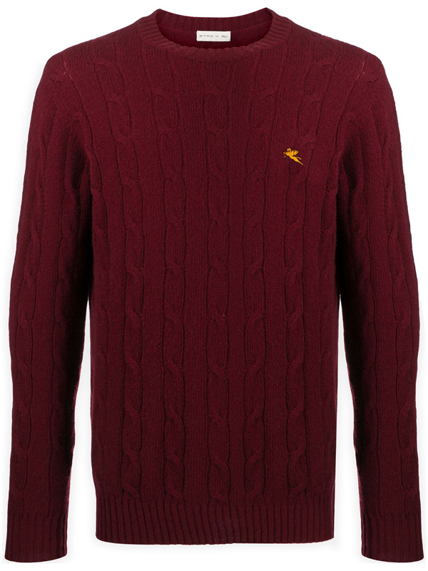 Etro Logo Embroidery Ribbed Wool Sweater In Red