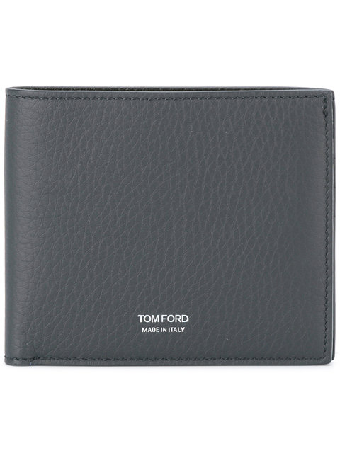 Tom Ford Logo Stamp Bi-fold Wallet In Navy