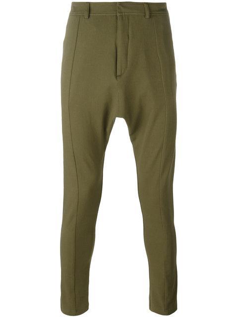 Balmain Slim-fit Dropped-crotch Cotton-blend Trousers In Khaki