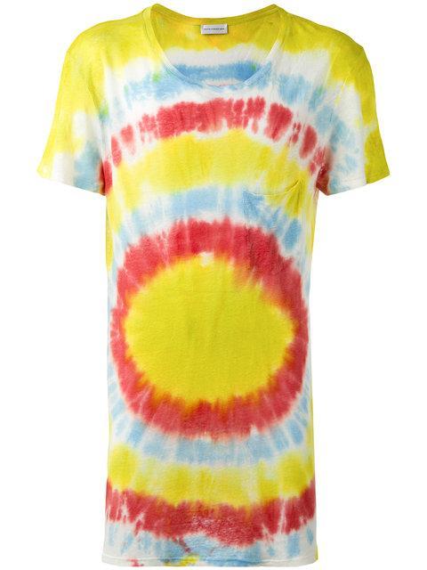 Faith Connexion Tie Dye Slub Linen T-shirt In Acid Green