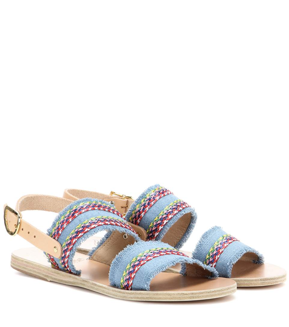 Ancient Greek Sandals Dinami Raffia Fabric And Leather Sandals In Light Deeim