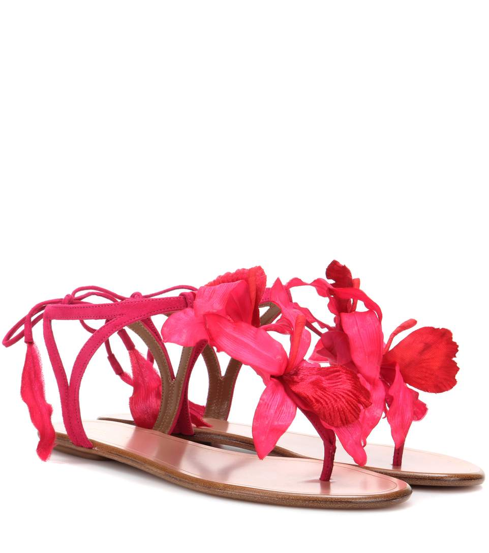 Aquazzura Flora Embellished Suede Sandals In Paradise Piek