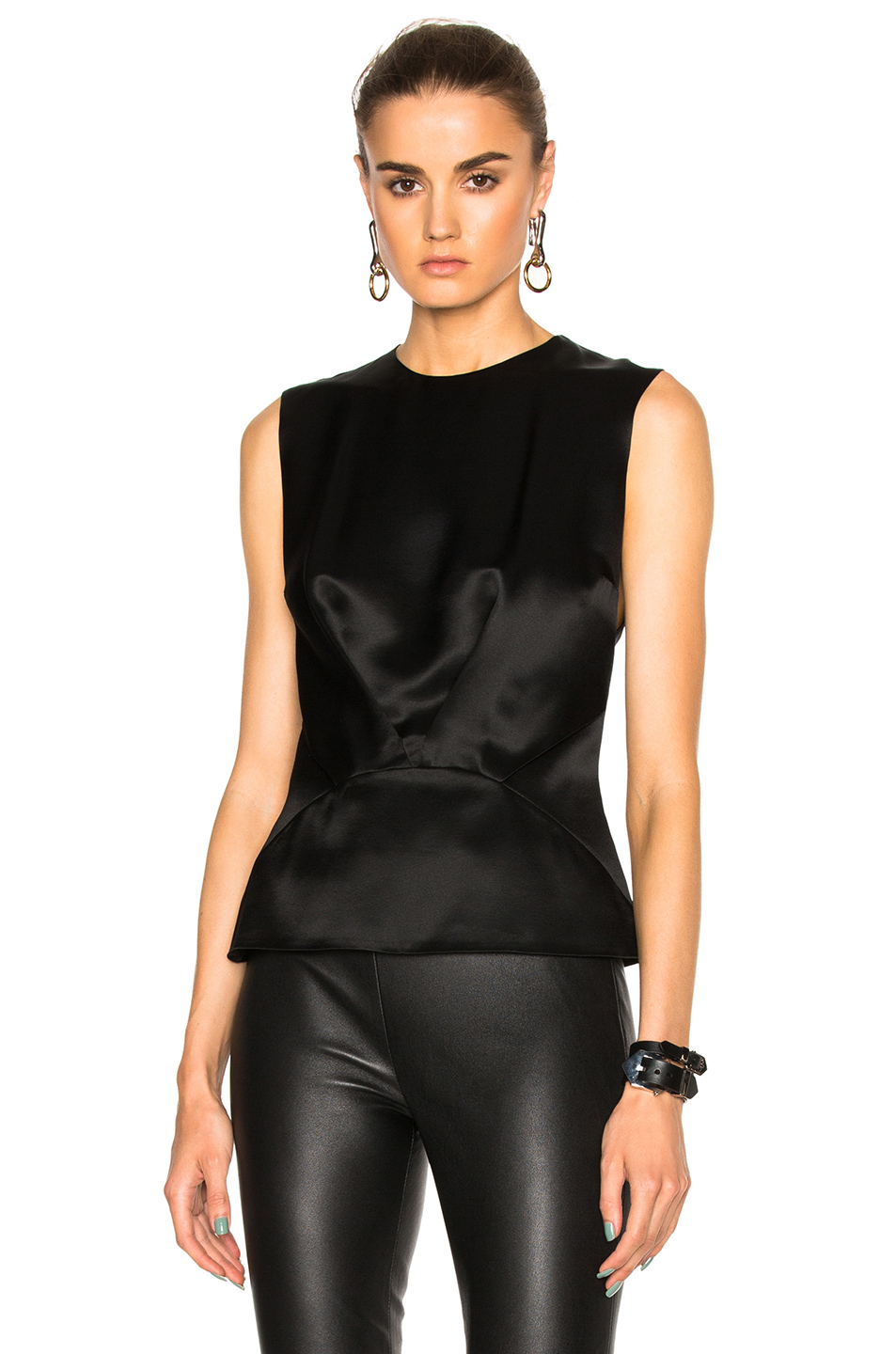 Mugler Satin Crepe Top In Black