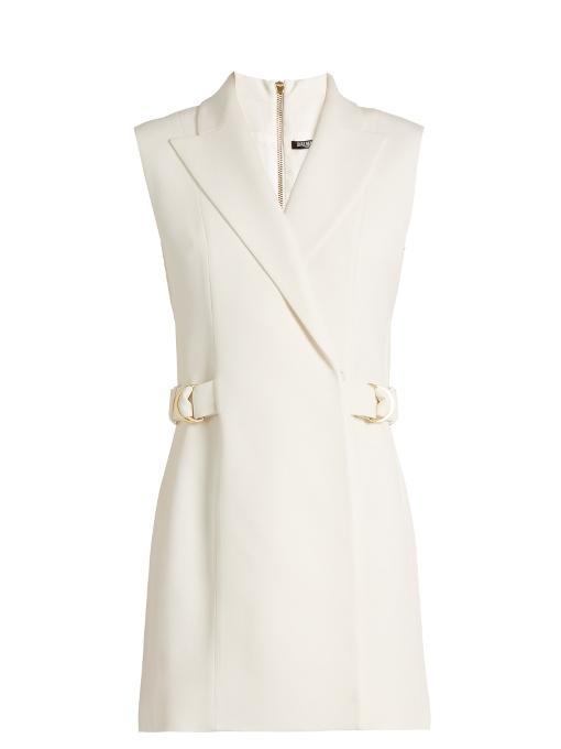 Balmain Ring-detail Crepe Waistcoat Dress In White