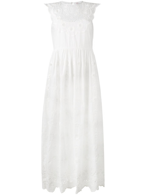 Red Valentino Long Tiered A-line Cotton Dress In White