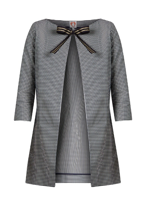 Shrimps Beatrice Checked Coat In Navy
