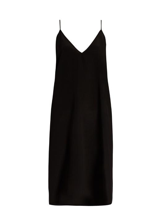 Raey V-neck Silk Slip Dress In Black