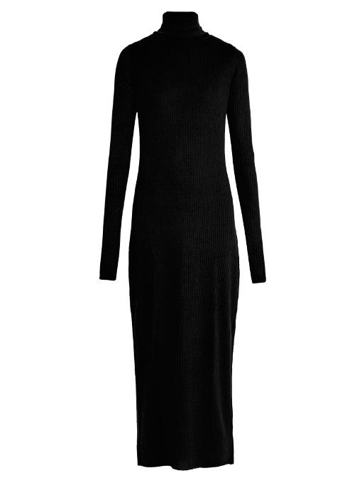 Raey - Roll Neck Ribbed Fine Knit Cashmere Dress - Womens - Black