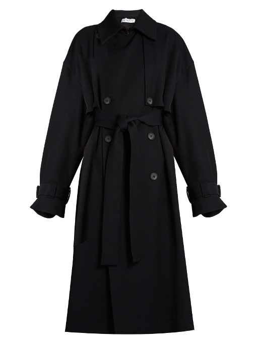Raey Displaced-sleeve Oversized Twill Trench Coat In Navy