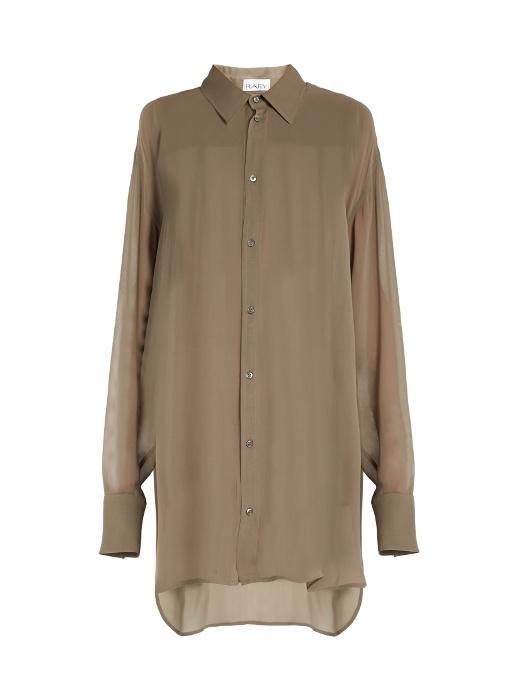 Raey Point-collar Oversized Silk-georgette Shirt In Grey