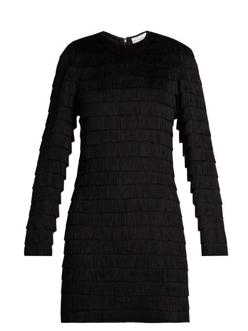 Raey Long-sleeved Fringed Dress In Black