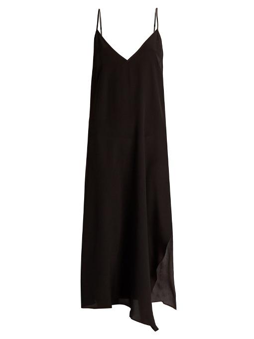 Raey Asymmetric-hem Silk Slip Dress In Black