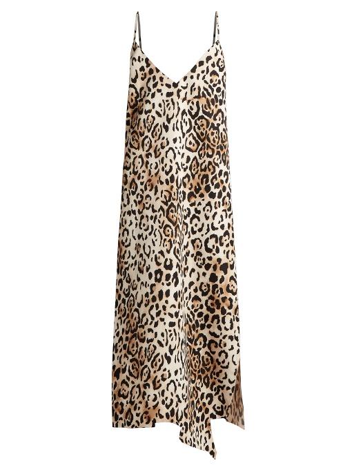 Raey Asymmetric-Hem Leopard-Print Twill Slip Dress