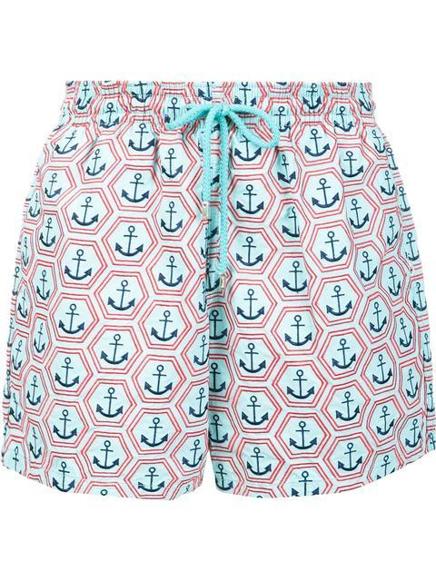 Vilebrequin Vilbrequin Anchor Embroidered Swim Trunks In Blue