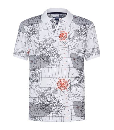 Vilebrequin Sonar Print Palatin Polo Shirt In White