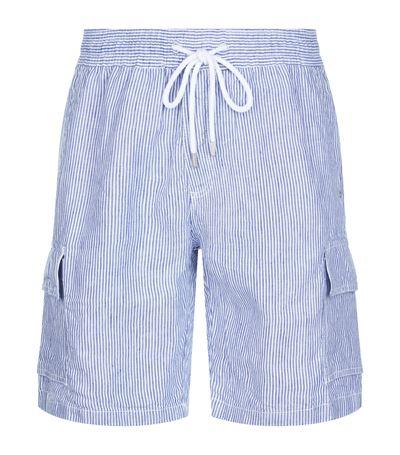 Vilebrequin Bermuda Striped Drawstring-waist Linen Shorts In Blue