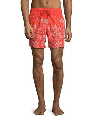 Vilebrequin Moorea Bubbles Turtles Printed Swim Trunks, Red In Poppy Red