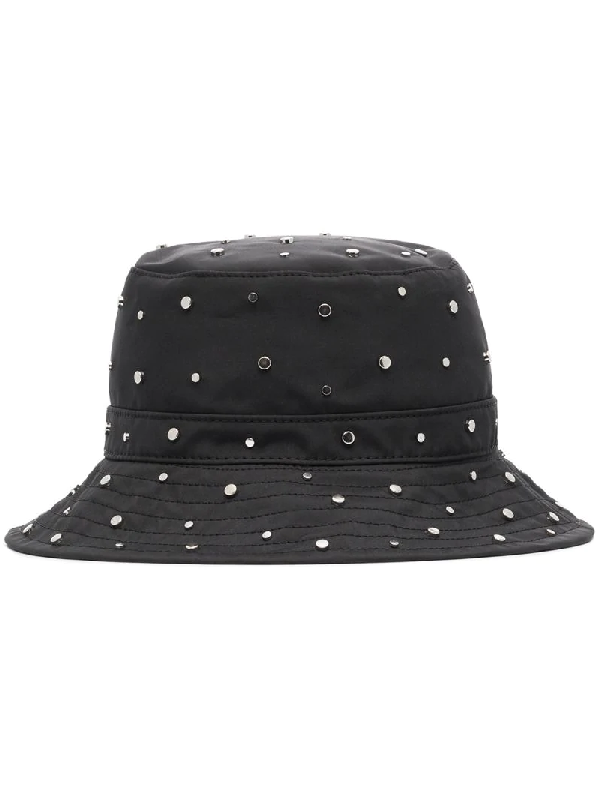 Ganni Studded Recycled-shell Bucket Hat In Black