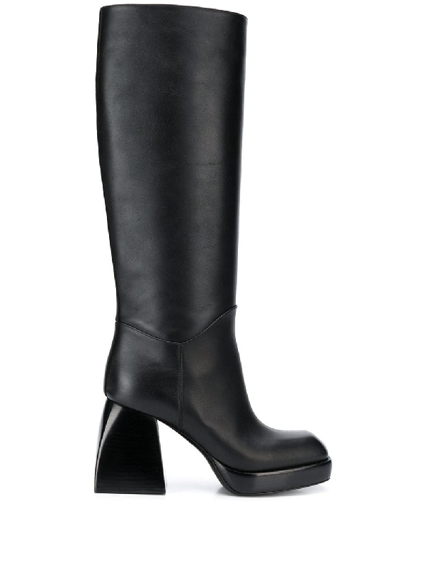 Nodaleto Bulla Knee-high Leather Platform Boots In Black Soul
