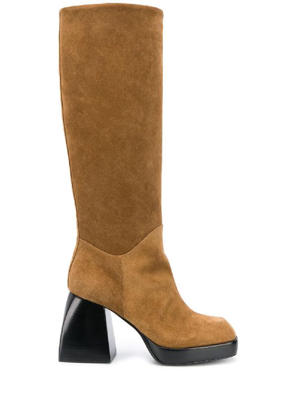 Nodaleto Bullia Knee-high Suede Platform Boots In Brown