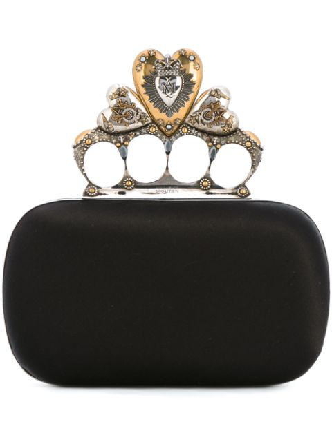 Alexander Mcqueen Crystal-embellished Heart Satin Knuckle Clutch In Black