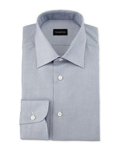 Ermenegildo Zegna Textured Stair-step Dress Shirt, Navy