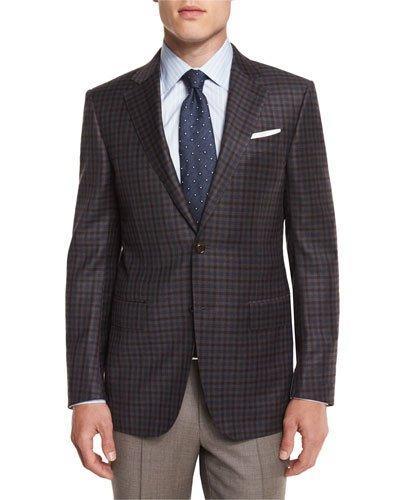 Ermenegildo Zegna Check Wool Sport Coat, Brown
