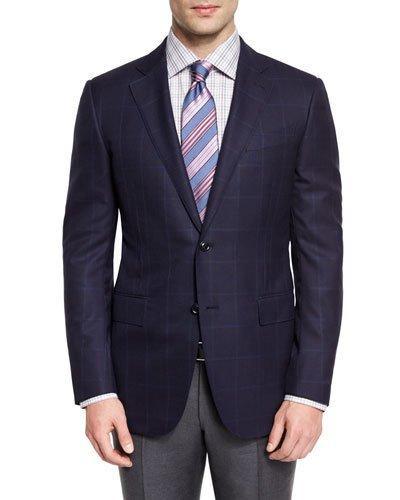 Ermenegildo Zegna Windowpane-check Wool Two-button Sport Coat, Navy