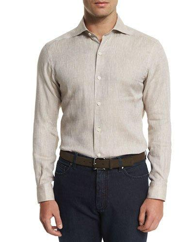 Ermenegildo Zegna Linen Long-sleeve Sport Shirt, Beige