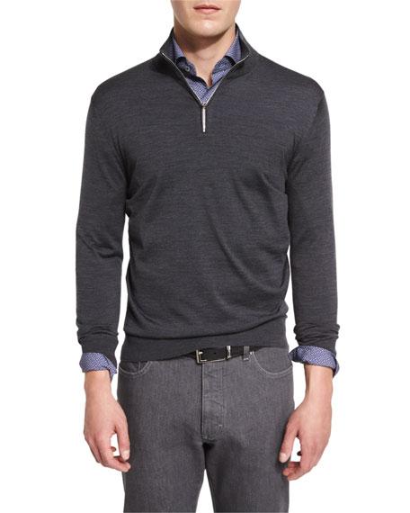 Ermenegildo Zegna 1/4-zip High-performance Merino Wool Sweater, Charcoal