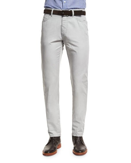 Ermenegildo Zegna Five-pocket Stretch-cotton Pants, Putty, Puddy In Stone