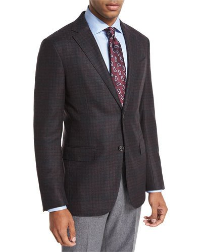 Ermenegildo Zegna Boucle Plaid Sport Coat, Black/burgundy In Black/burgandy