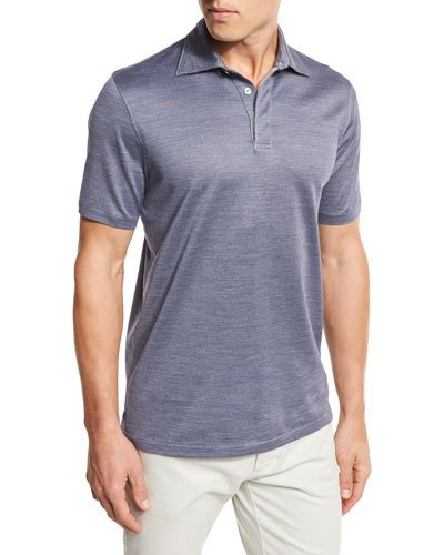 Ermenegildo Zegna Micro-birdseye Polo Shirt, Navy