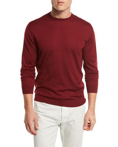 Ermenegildo Zegna High-performance Merino Wool Crewneck Sweater, Medium Red In Md Red Sld