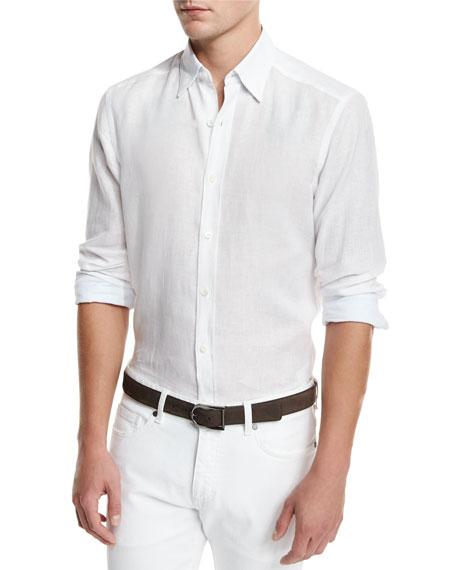Ermenegildo Zegna Solid Long-sleeve Sport Shirt, White In Wht Sld