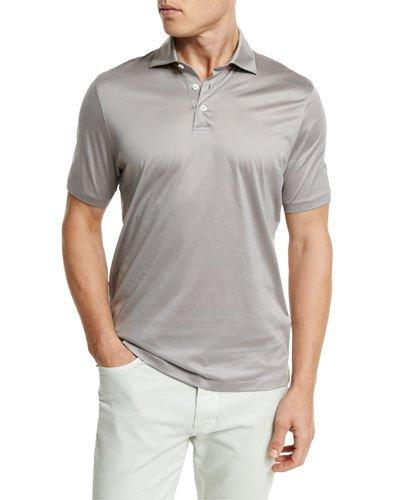 Ermenegildo Zegna Mercerized Cotton Polo Shirt, Light Gray In Lt Gry Sld