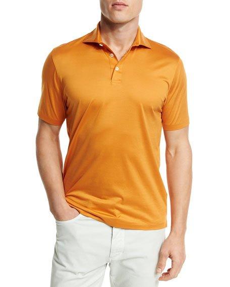 Ermenegildo Zegna Mercerized Cotton Polo Shirt, Bright Orange In Br Org Sld