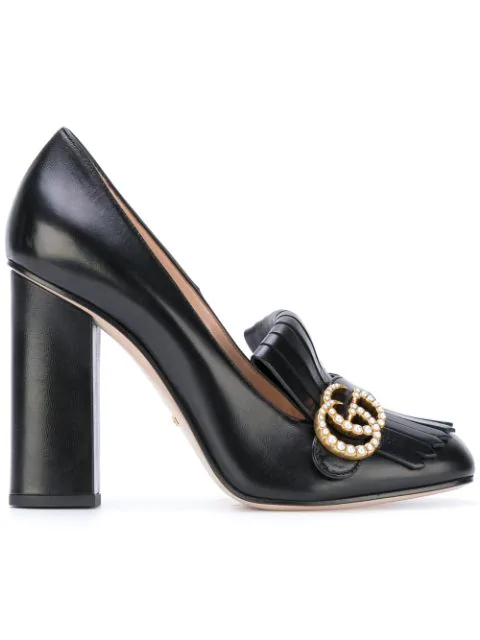 Gucci Marmont Fringed Leather Pumps In Black
