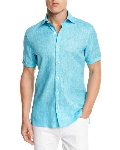Ermenegildo Zegna Over-dyed Linen Short-sleeve Sport Shirt, Aqua In Aqu Sld