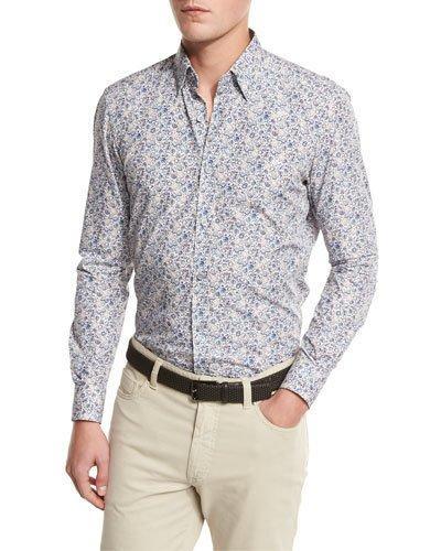 Ermenegildo Zegna Floral-print Sport Shirt, Medium Beige/blue In Md Bge Sld