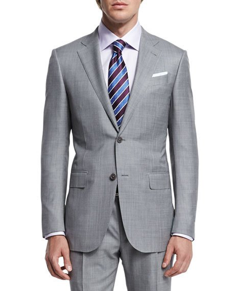 Ermenegildo Zegna Sharkskin Two-piece Trofeo® Wool Suit, Light Gray, Light Grey