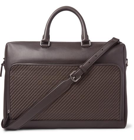 Ermenegildo Zegna Pelle Tessuta Leather Briefcase In Dark Brown