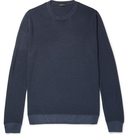 Ermenegildo Zegna Wool And Silk-blend Sweater In Blue