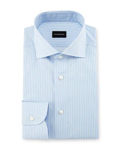 Ermenegildo Zegna Striped Dress Shirt, Light Blue